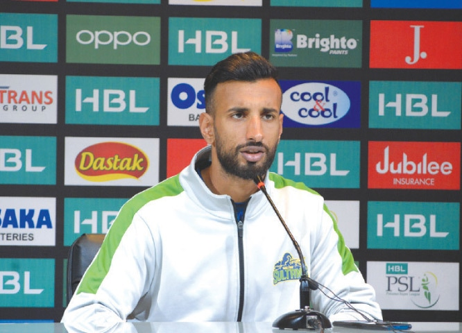 MULTAN Sultans' captain Shan Masood attends a news conference at the Gaddafi Stadium on Thursday.—M. Arif/White Star