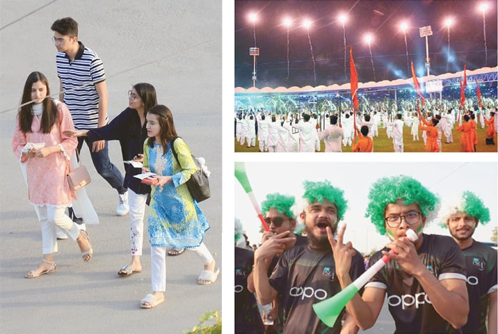 Cricket lovers' dream that the entire PSL be played in Pakistan came true on Thursday as a dazzling ceremony kicked off the event at Karachi's National Stadium. The picture at top shows a family arriving at the stadium. A view of fireworks and music concert (above right) and fans in colourful headgear enjoy themselves.—Agencies