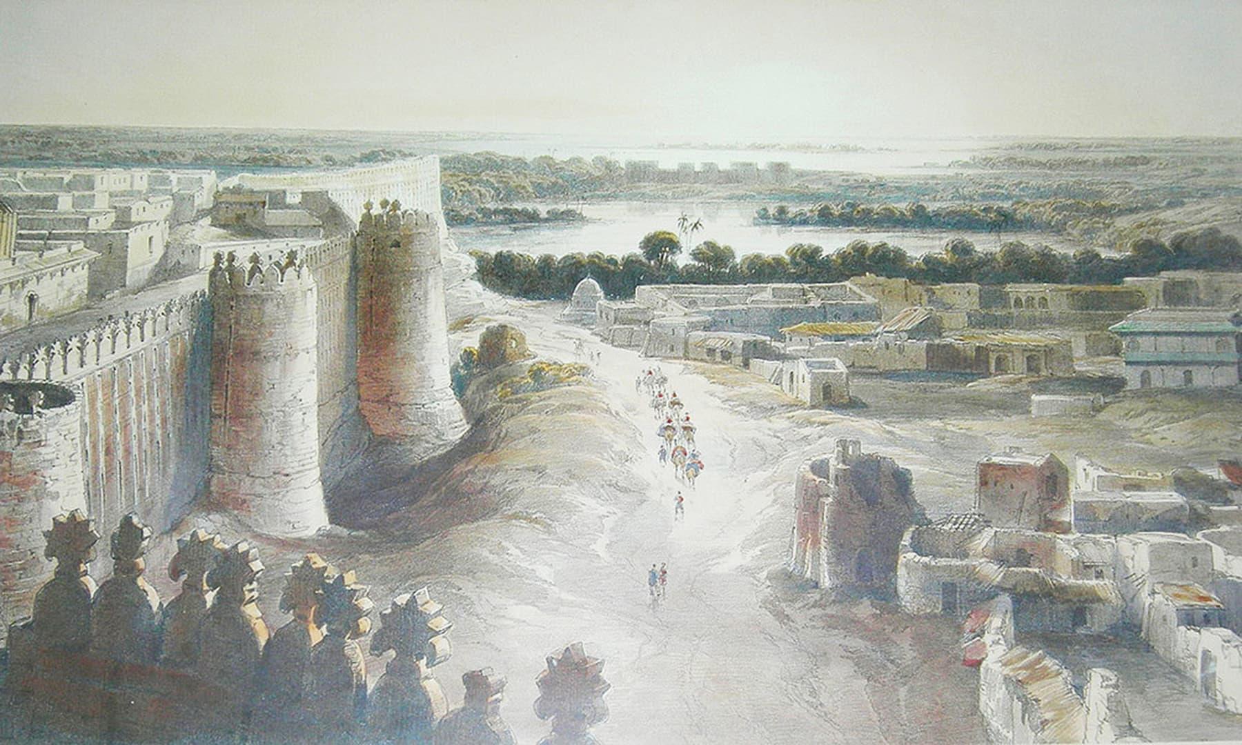 پرانے وقتوں میں شہر حیدرآباد کا ایک نظارہ