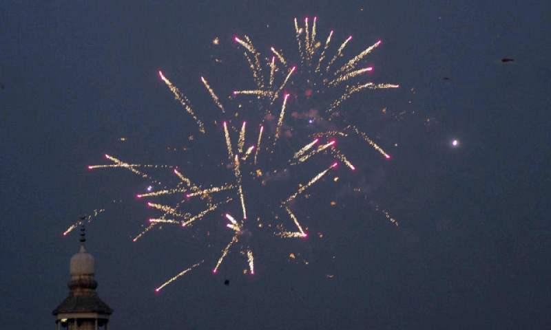 A view of fireworks during Basant celebrations in Rawalpindi on Friday. — Online