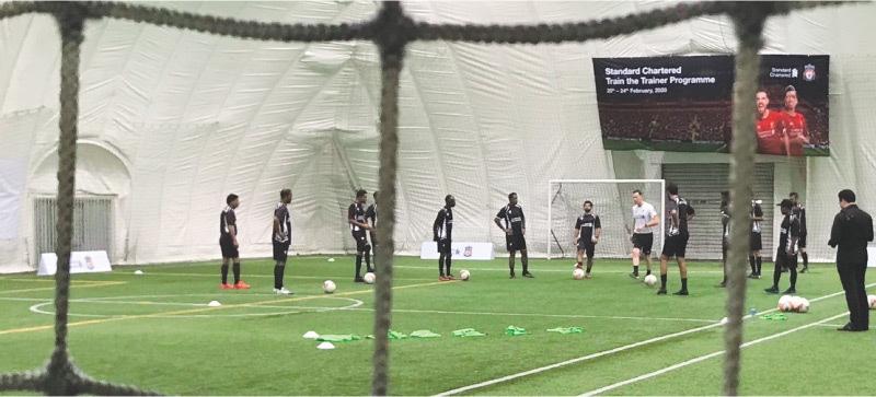 DUBAI: Football coaches impart training during a session.