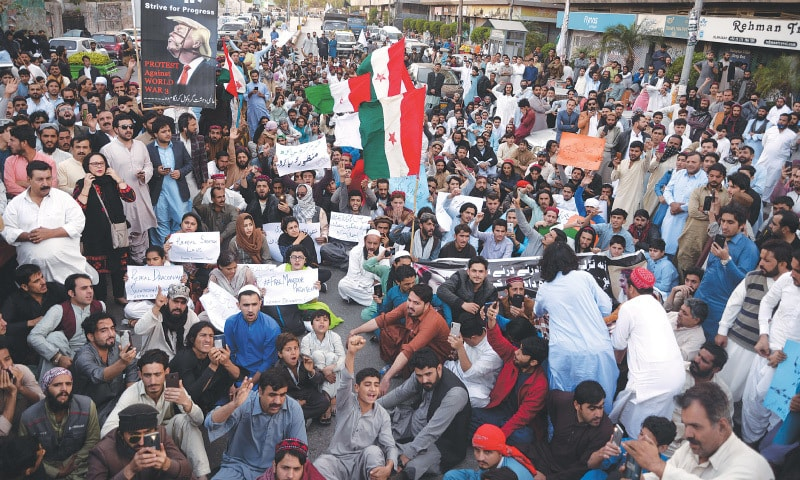 Protest outside the Karachi Press Club on January 28, 2020, demanding the release of PTM leader Manzoor Pashteen | White Star