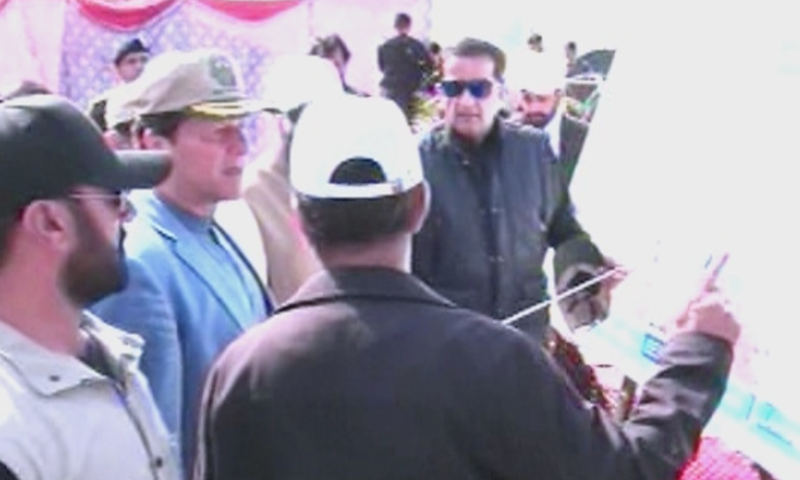 Prime Minister Imran Khan on Sunday arrived in Kundian, Mianwali to inaugurate the spring tree plantation drive. — DawnNewsTV