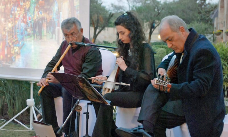 Turkish musicians perform at the food festival in Islamabad.