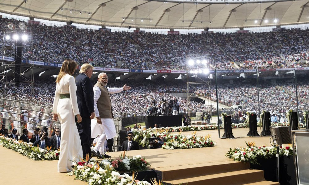 "US President Donald Trump, first lady Melania Trump, and Indian Prime Minister Narendra Modi arrive for a ""Namaste Trump"" event at Sardar Patel Stadium, on Monday in Ahmedabad, India. — AP"