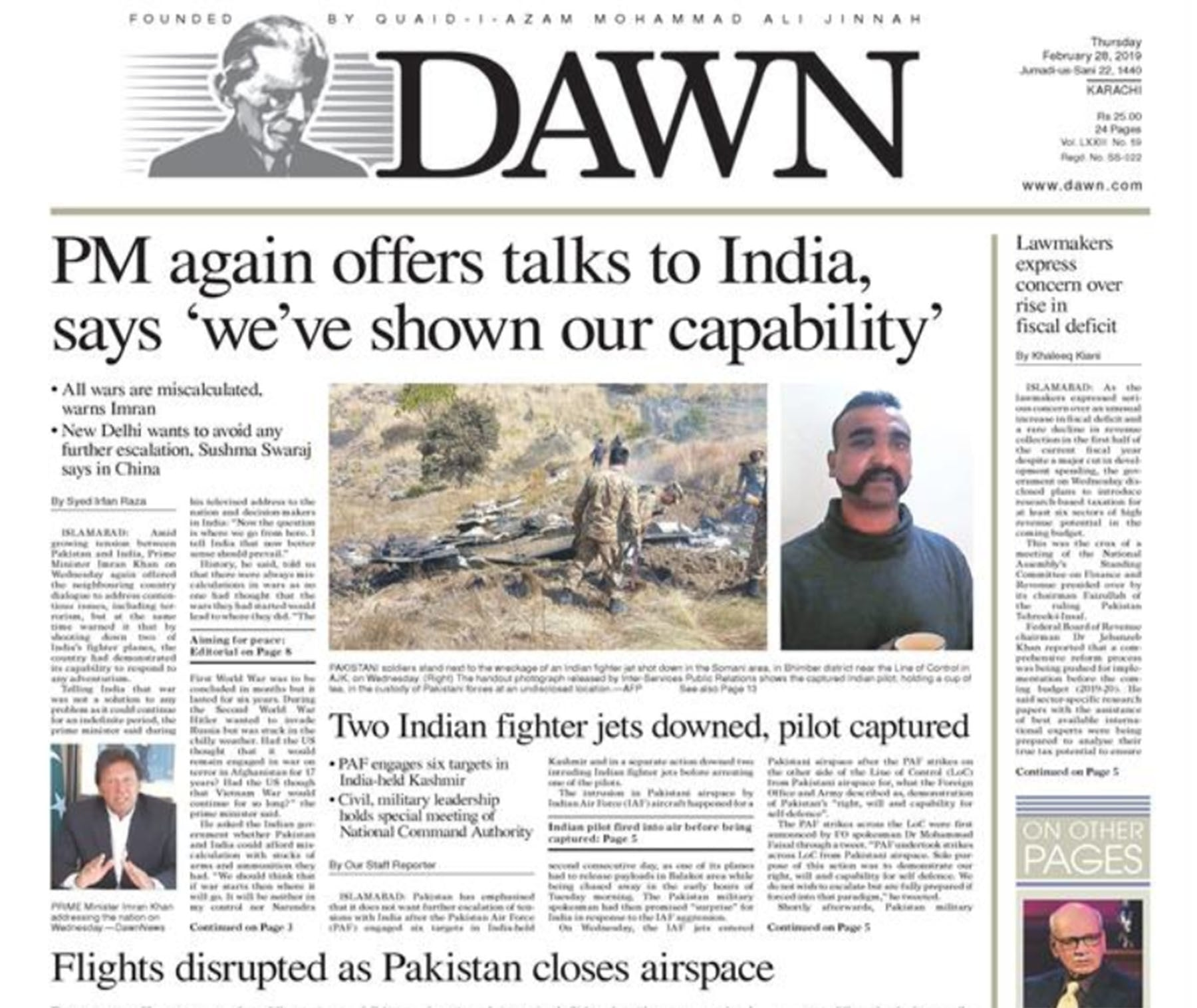 A screenshot of Dawn newspaper on February 28.