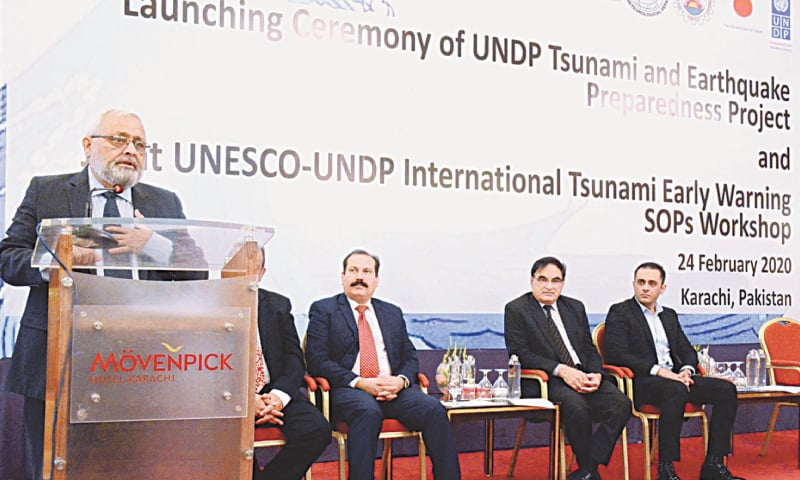 NED Vice Chancellor Prof Sarosh Hashmat Lodi speaks at the event on Monday.—APP