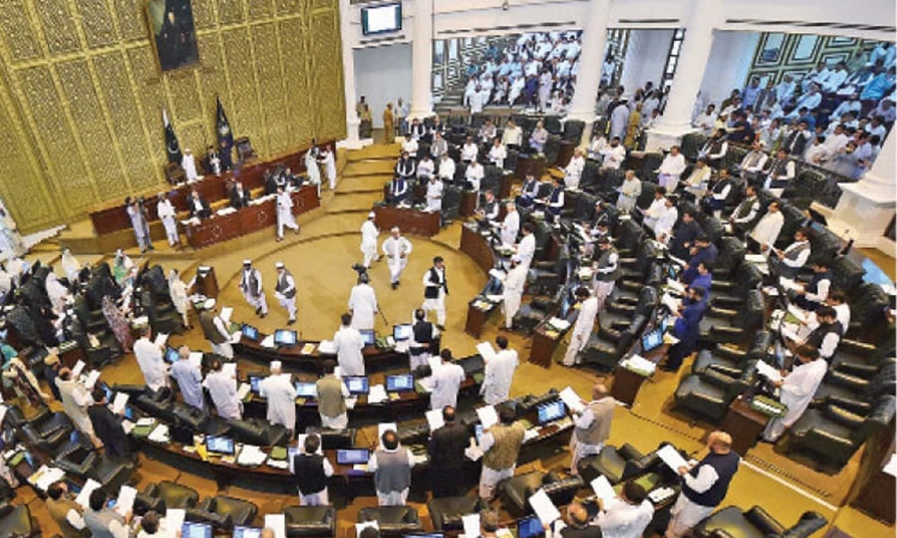 All standing committees of the Khyber Pakhtunkhwa Assembly were dissolved on Monday for inducting lawmakers from the merged tribal districts as uproar by the opposition marred the house proceedings for the fourth working day. — Photo courtesy Abdul Majeed Goraya/File