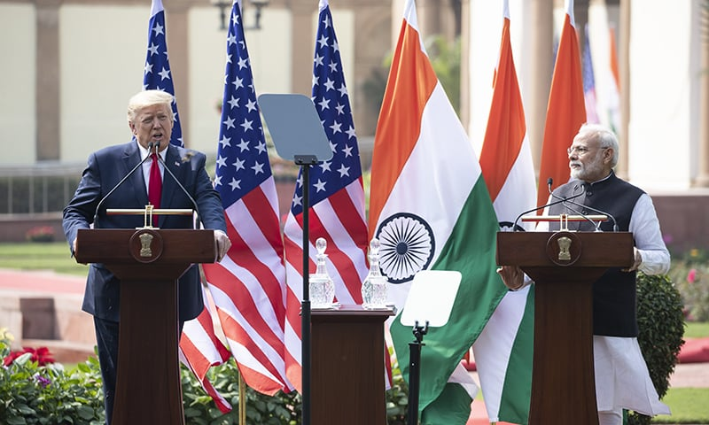 US President Donald Trump speaks during a news conference with Indian Prime Minister Narendra Modi at Hyderabad House on Feb 25. — AP