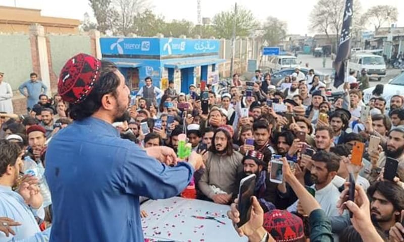 Pashtun Tahaffuz Movement chief Manzoor Pashteen addresses party workers after being released from jail. — Photo by author