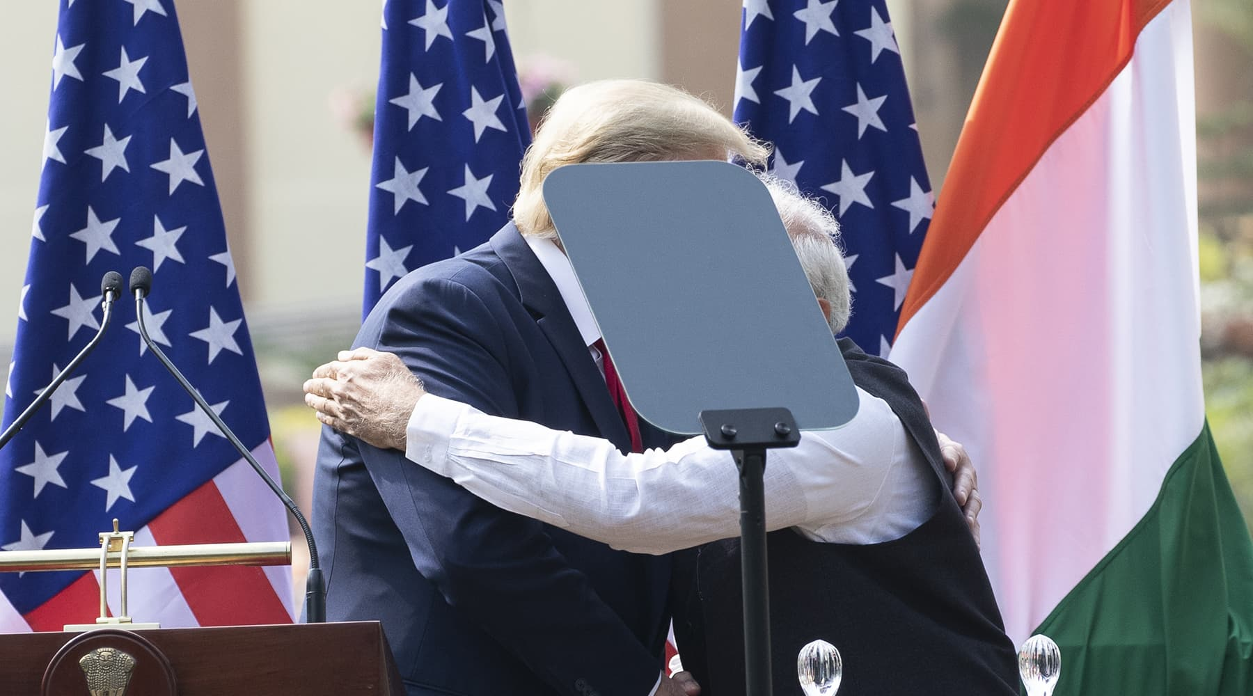 US President Donald Trump and Indian Prime Minister Narendra Modi embrace after a news conference at Hyderabad House on Tuesday, Feb 25, in New Delhi. — AP