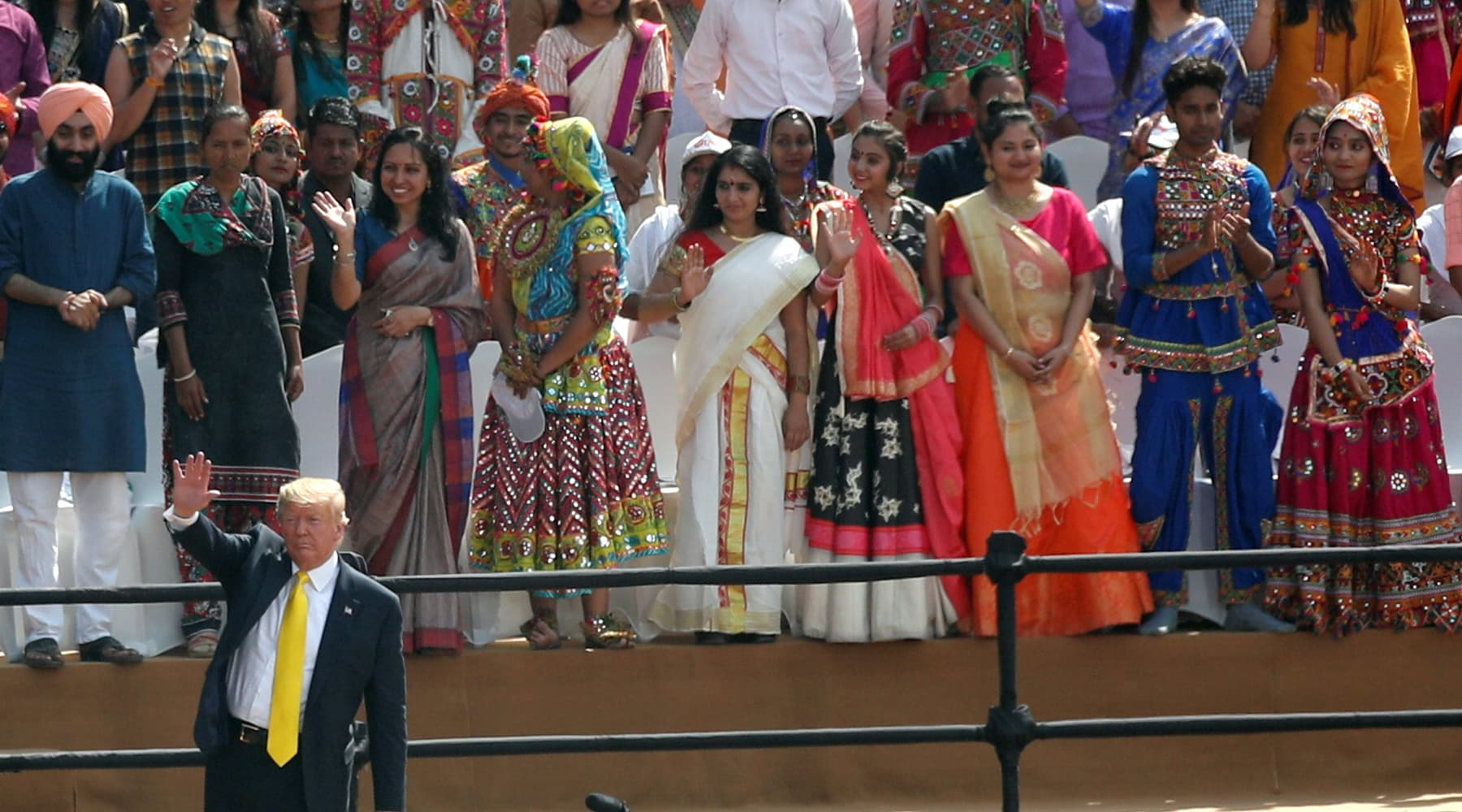 """US President Donald Trump waves as he attends the """"Namaste Trump"""" event at the Sardar Patel Stadium in Ahmedabad, India on Feb 24. — Reuters"""
