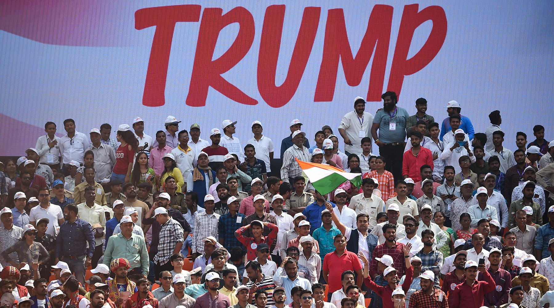 People attend 'Namaste Trump' rally at Sardar Patel Stadium in Motera, on the outskirts of Ahmedabad on Feb 24. — AFP