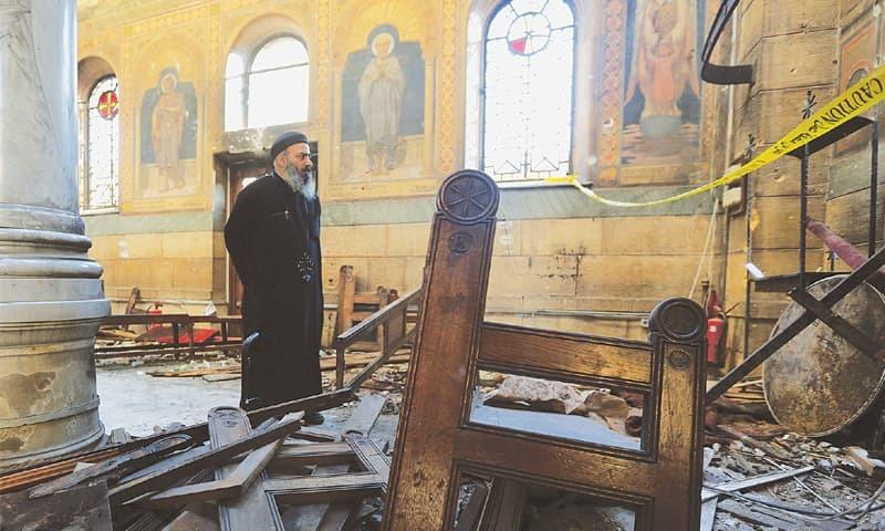 11دسمبر 2016 کو مصر کے دارالحکومت قاہرہ کے مرکزی چرچ میں ہونے والے بم دھماکے میں کم از کم 25 افراد ہلاک ہوئے تھے— فائل فوٹو: اے ایف پی