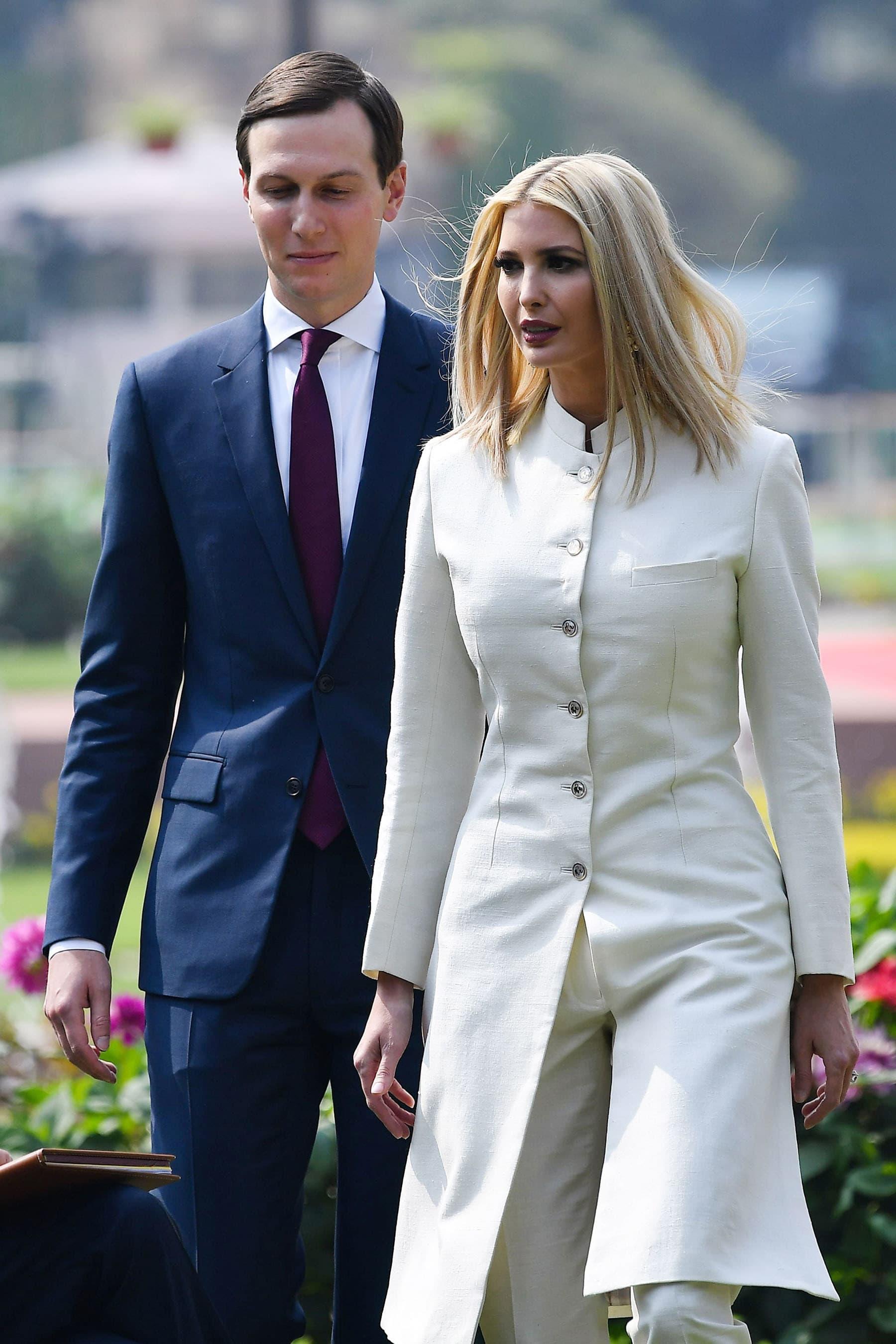 White House senior advisors Ivanka Trump and Jared Kushner arrive at Hyderabad House in New Delhi on Feb 25. — AFP