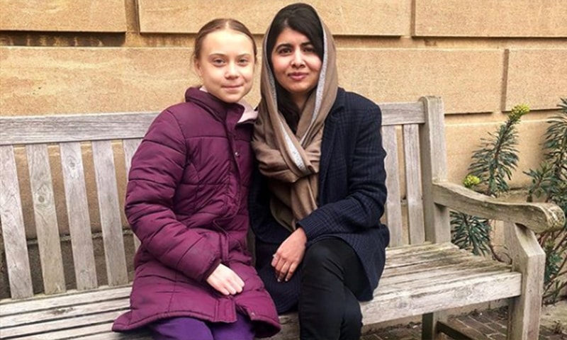 Malala Yousafzai and Greta Thunberg pose for a photo in Oxford, UK. — Courtesy: @malala on Instagram