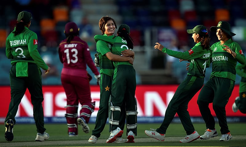 Pakistan bowler Diana Baig (C) celebrates her wicket of West Indies' Hayley Matthews with teammates during the Twenty20 women's World Cup cricket match between Pakistan and West Indies in Canberra on February 26. — AFP
