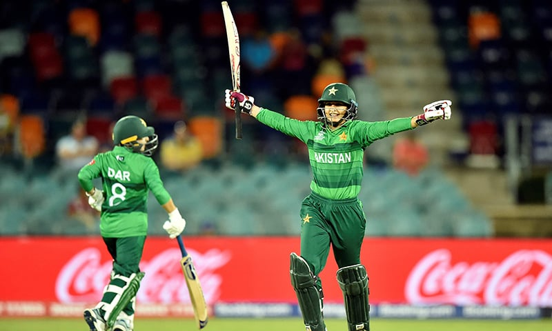 Pakistan captain Bismah Maroof (R) celebrates after a victory against West Indies during the Twenty20 women's World Cup cricket match between Pakistan and West Indies in Canberra on February 26. — AFP