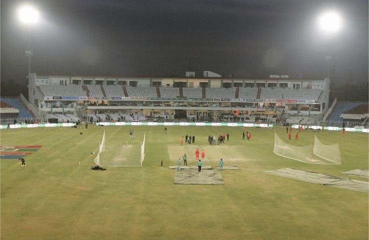 A GENERAL view of the Pindi Cricket Stadium on Wednesday ahead of the Pakistan Super League match between Islamabad United and Quetta Gladiators.—Tanveer Shahzad/White Star