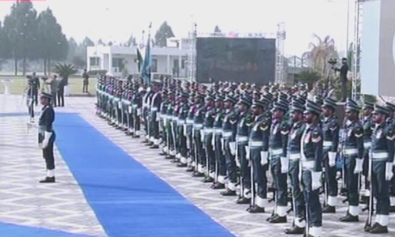 Chief of Air Staff Mujahid Anwar Khan witnessed a guard of honour before the ceremony began. — DawnNewsTV