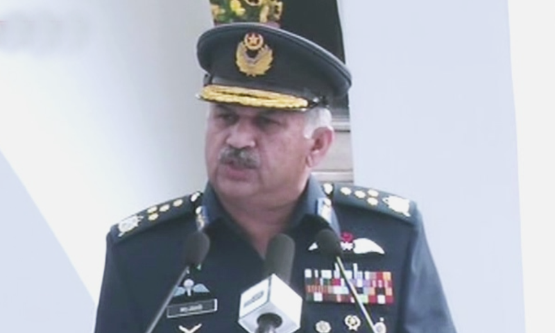 Chief of Air Staff Air Chief Marshal Mujahid Anwar Khan addresses the ceremony at the Air Headquarter to commemorate the first anniversary of the Feb 27 'Operation Swift Retort'. — DawnNewsTV