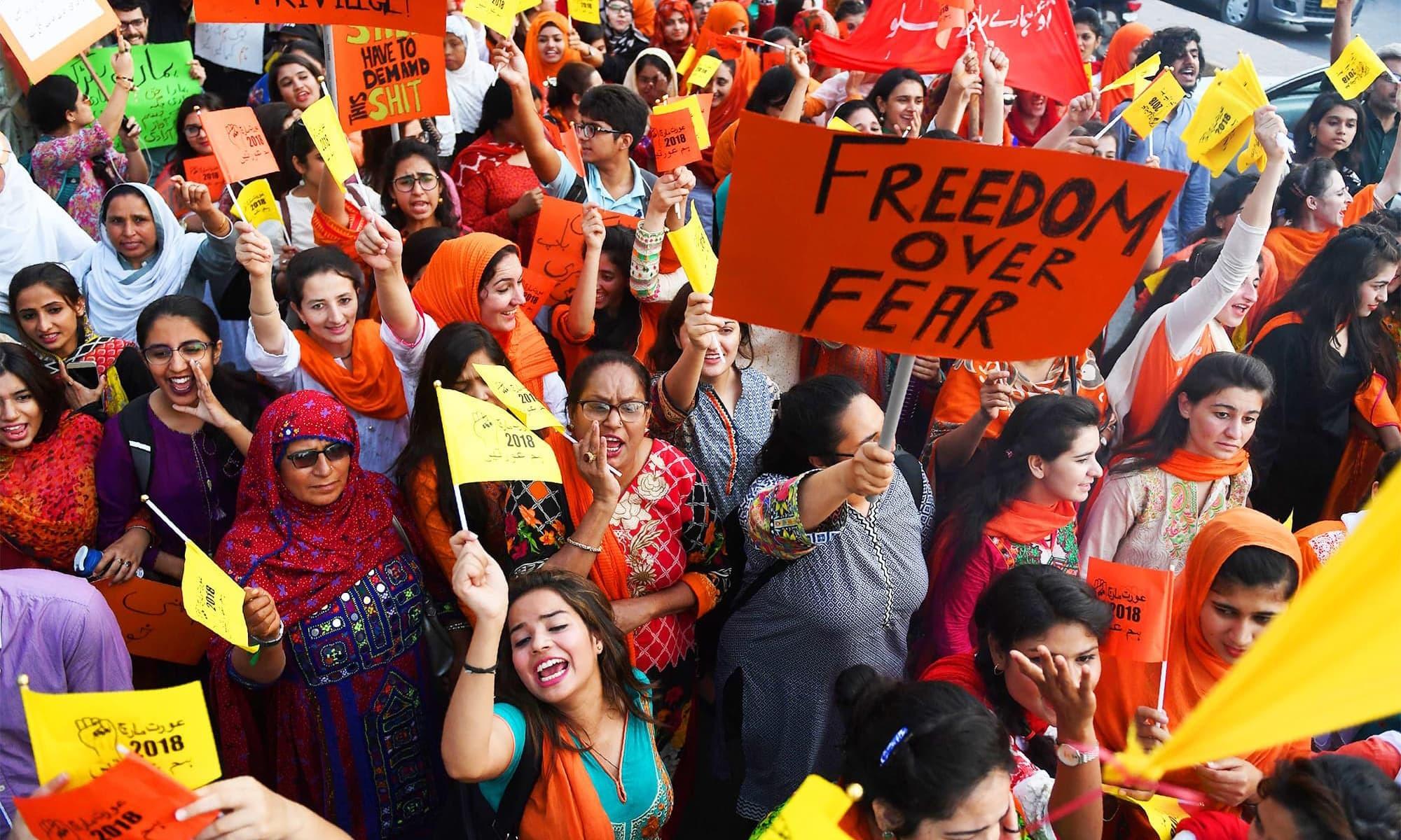 آئندہ ماہ 8 مارچ کو ملک کے مختلف علاقوں میں عورت مارچ کا اعلان کیا گیا ہے —فائل فوٹو: اے ایف پی