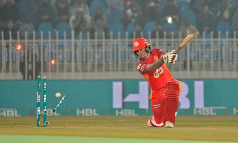 Luke Ronchi was bowled out by a blistering delivery from Naseem Shah— Photo courtesy PSL Twitter