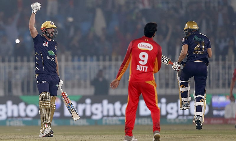 Quetta Gladiators batsmen Ben Cutting, left, and Mohammad Nawaz, right, react after taking the winning run during PSL match against Islamabad United at Rawalpindi Stadium on Feb 27. — AP