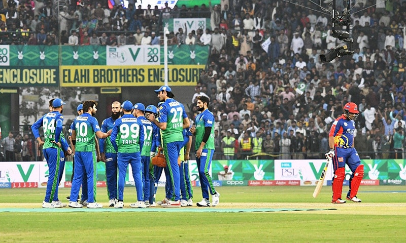 Karachi Kings are 75-5 after 10 overs in pursuit of a 187-run target against Multan Sultans in their Pakistan Super League (PSL) 2020 clash at Multan Cricket Stadium on Friday. — PSL Twitter
