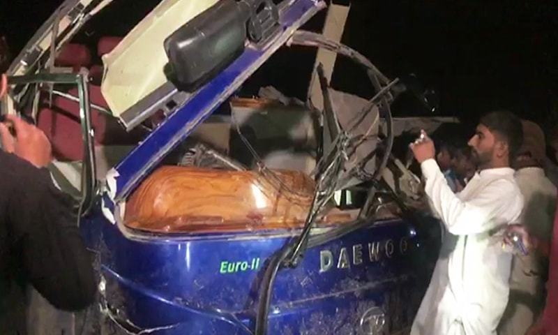 The Pakistan Express train was on its way to Rawalpindi from Karachi, when it collided with a passenger bus at a railway crossing. — DawnNewsTV