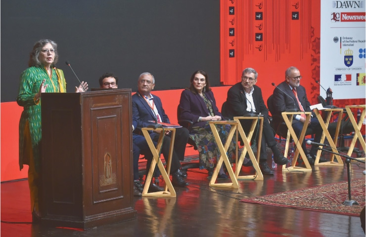 Nobel laureate Orhan Pamuk (second from right) was eagerly awaited by the Lahorites | Murtaza Ali