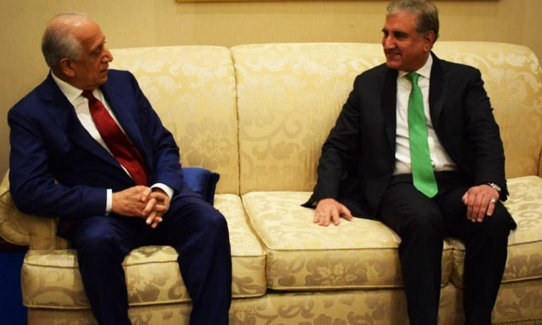 Foreign Minister Shah Mahmood Qureshi and US Special Representative for Afghanistan Reconciliation Zalmay Khalilzad in a meeting in Doha on Feb 29, 2020. — FO