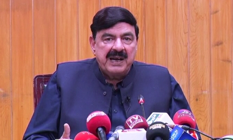 Railways Minister Sheikh Rashid Ahmed speaking at a press conference on Saturday —