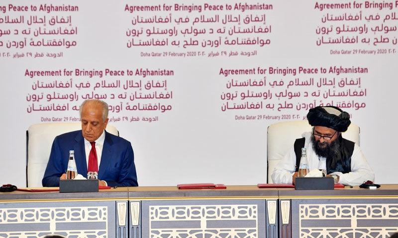 امریکا اور افغان طالبان کے درمیان امن معاہدہ ہوگیا،14 ماہ میں غیر ملکی افواج کا انخلا ہوگا