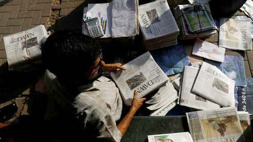 The All Pakistan Newspapers Society (APNS) has condemned the move on the part of federal as well as Punjab and Khyber Pakhtunkhwa governments to stop providing advertisements to the Dawn and Jang media groups, terming the act a violation of the principles of press freedom.  — Reuters/File