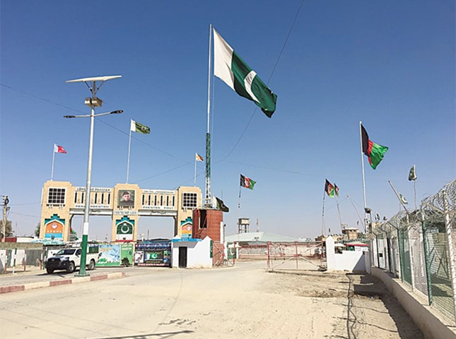 CHAMAN: The Friendship Gate on the Pakistan-Afghan border is seen shut on Sunday afternoon after Islamabad decided to close it for a week with effect from Monday.—Dawn