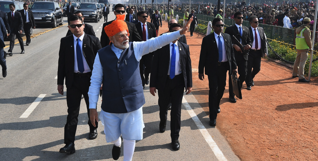 Indian Prime Minister Narendra Modi waves at a crowd. — Photo from Scroll.in