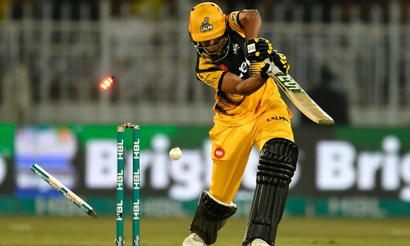 Peshawar Zalmi's Haider Ali is bowled out by Karachi Kings' Mohammad Amir (unseen) during the Pakistan Super League (PSL) T20 cricket match at the Rawalpindi Cricket Stadium on March 2. — AFP
