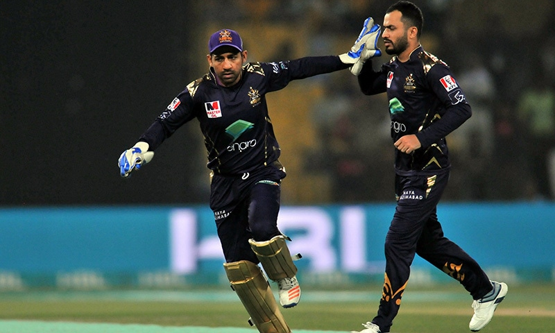 Gladiators' captain Sarfaraz Ahmed and baller Mohammad Nawaz celebrate after Qalandars' player Fakhar Zaman got caught out in the fifth over. — Photo courtesy Quetta Gladiators Twitter