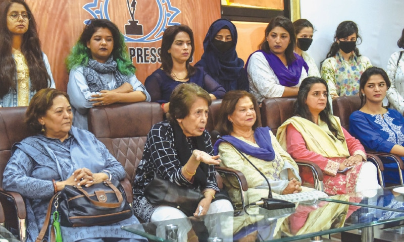 Justice Majida Rizvi, along with other activists, speaks at the presser on Tuesday.—White Star