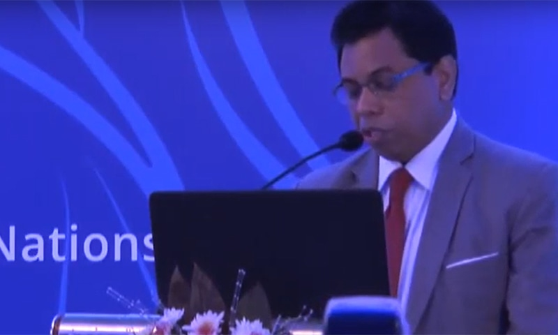 Speaking to the media at the organisation's head office in Islamabad, WHO country head Dr Palitha Mahipala said that Pakistan not only got the facility to diagnose COVID-19 but also introduced it at five different places across the country within two weeks unlike many other parts of the world. — Screengrab courtesy Unicef Sri Lanka You Tube