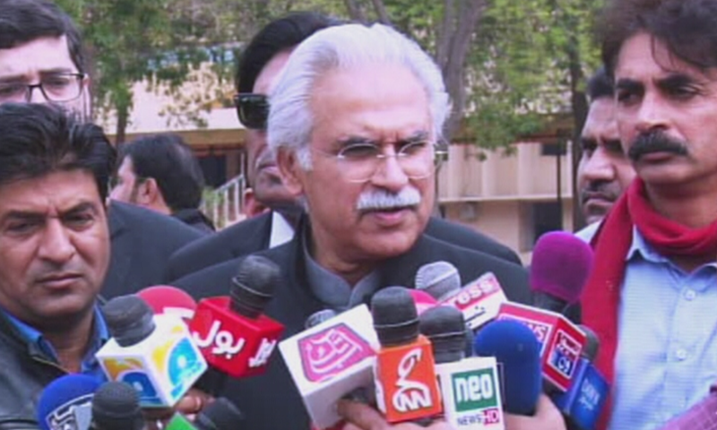 Special Assistant to Prime Minister on Health Dr Zafar Mirza speaks to reporters in Rawalpindi on Wednesday. — DawnNewsTV