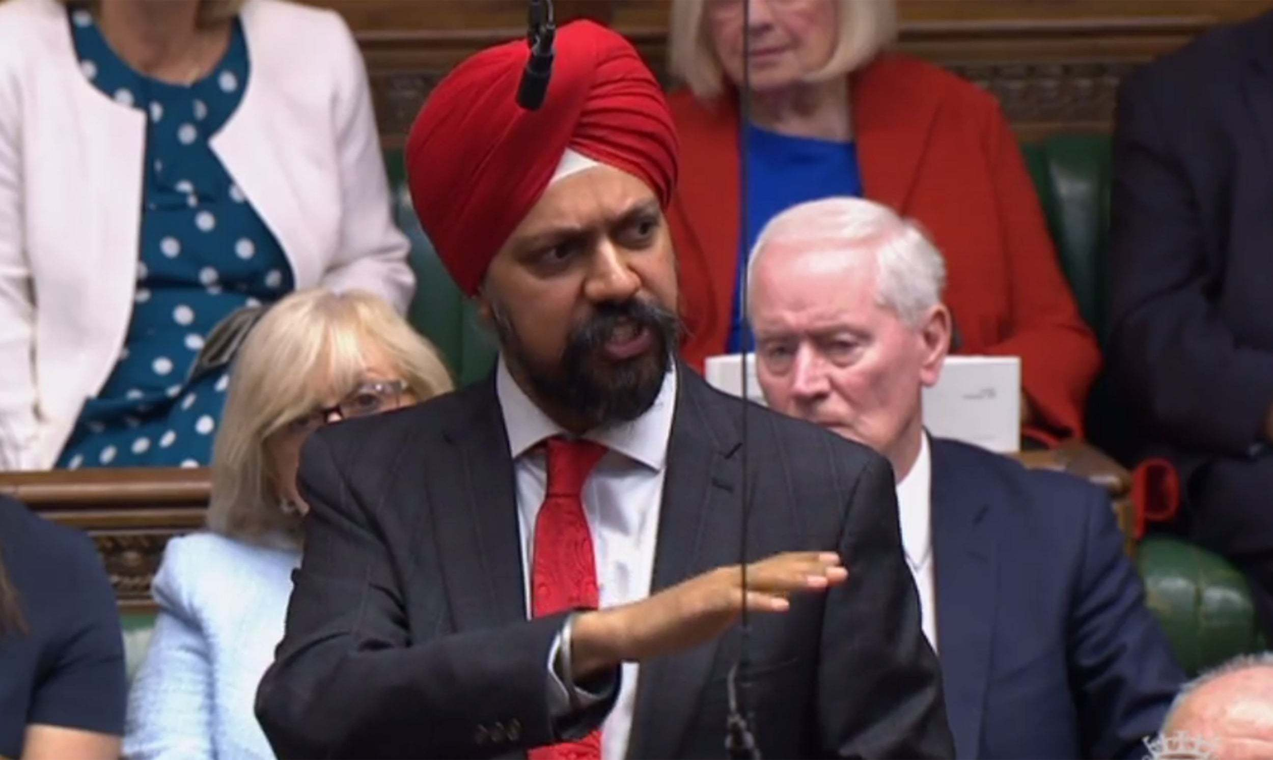 Labour MP Tanmanjeet Singh Dhesi addressing the UK parliament. — Photo courtesy The Independent