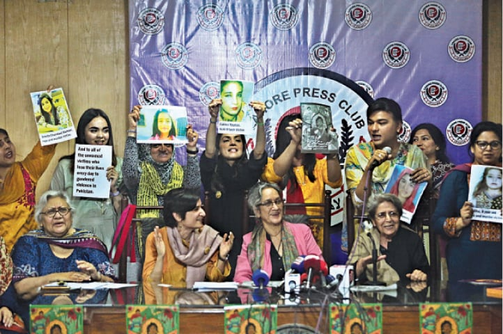 Organisers of Aurat March address a press conference at the Lahore Press Club. — White Star