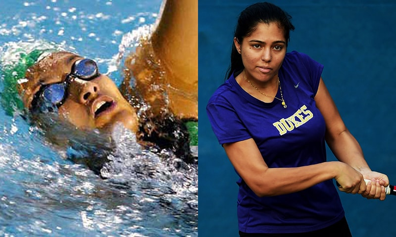 Olympic swimmer Kiran Khan and the country's top-ranked female tennis player Sarah Mehboob. — Photos AFP/File