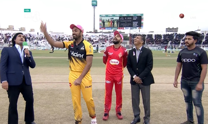 Peshwar Zalmi  won the toss and elected to field against Islamabad United in their Pakistan Super League 2020 match at the Rawalpindi Cricket Stadium on Saturday. — DawnNewsTV