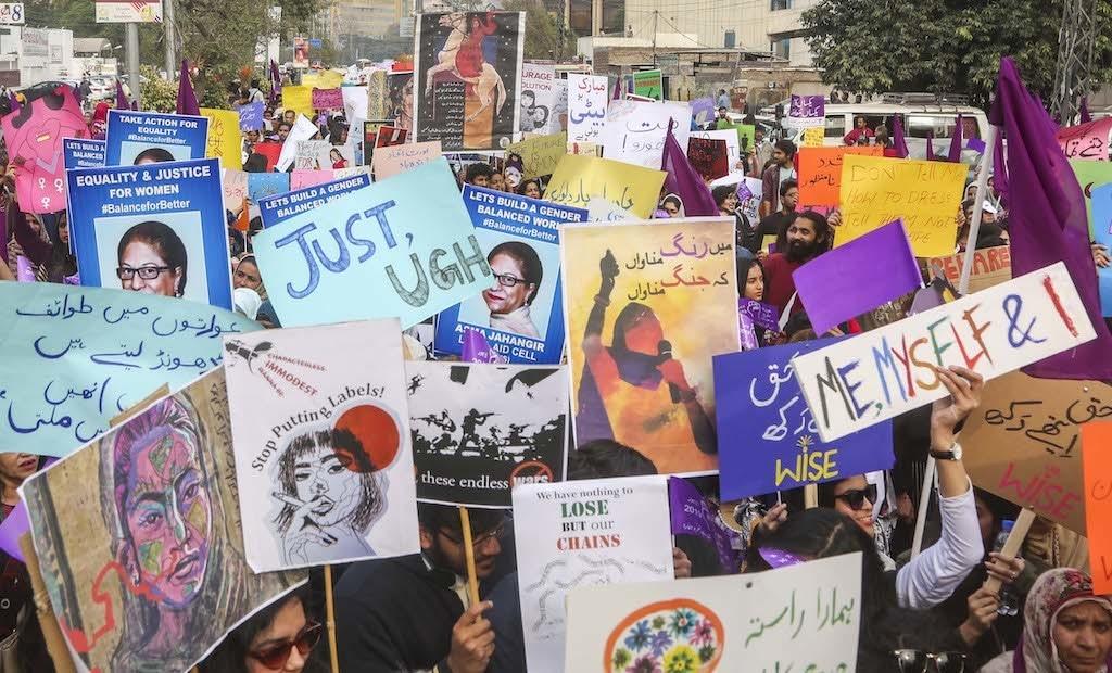 Aurat March placards in Lahore | Aun Jafri, White Star