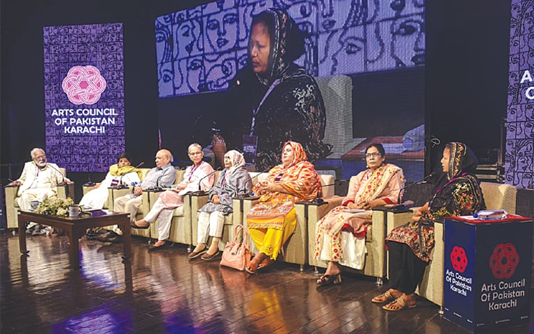 Rights activists shed light on women workers' problems at the First Women Conference on Saturday.—White Star