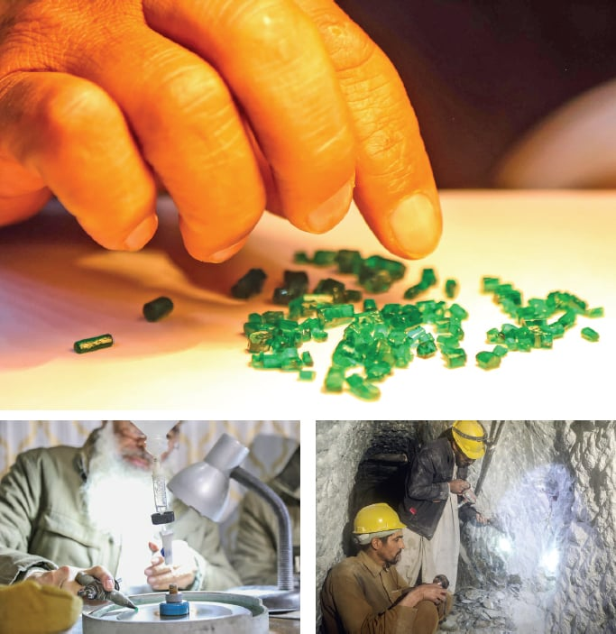 (Clockwise from above) Raw stones from Mingora emerald mine. Workers inside the mine. A man polishes a stone. — Dawn