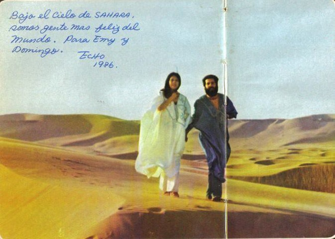 """Under the sky of the Sahara, we are the happiest people in the world."" Sanmao and her husband Jose 